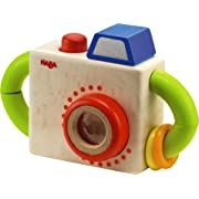 HABA Capture Fun Classic Wooden Toy Camera with Squeaking Button and Prism Lens - Activity Toy Great for First Role Play