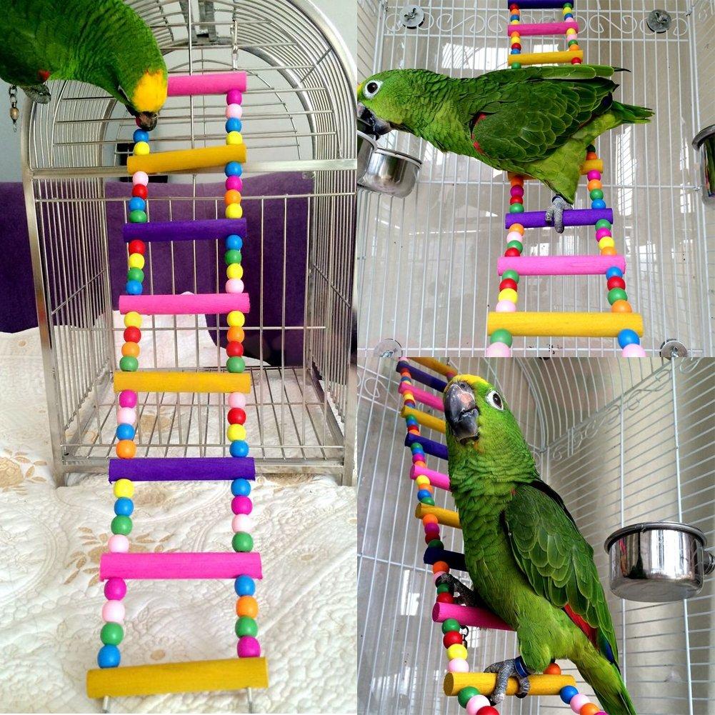 Itemap Pet Bird Swing Wooden Bridge Ladder Climb Parakeets Cockatiels Parakeet Budgie Parrot Toy (5 Steps) (10 steps) by Itemap (Image #6)