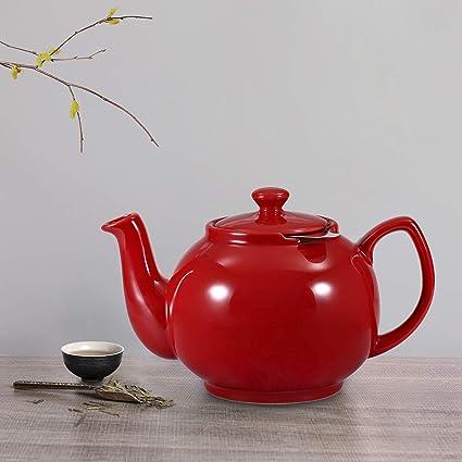 Urban Lifestyle Th/éi/ère classique en c/éramique Oxford 1,2 l avec filtre /à th/é en acier inoxydable rouge