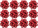 The Gift Wrap Company 12 Count Decorative Metallic Confetti Bows, Large, Red