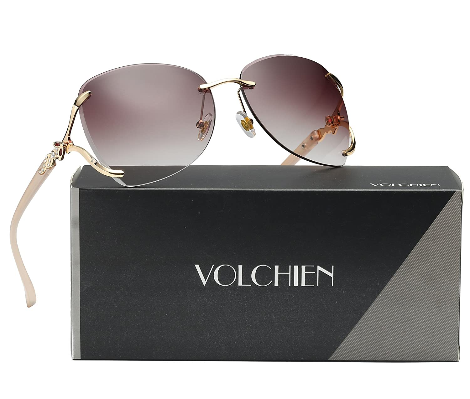 a2fa3c56510 Amazon.com  VOLCHIEN Rimless Women Shades Sunglasses Bling Frame Round Lens  Sun Glass Metal Frame Sunglasses for Women Men VC1012 (Coffee  Lens Champagne ...