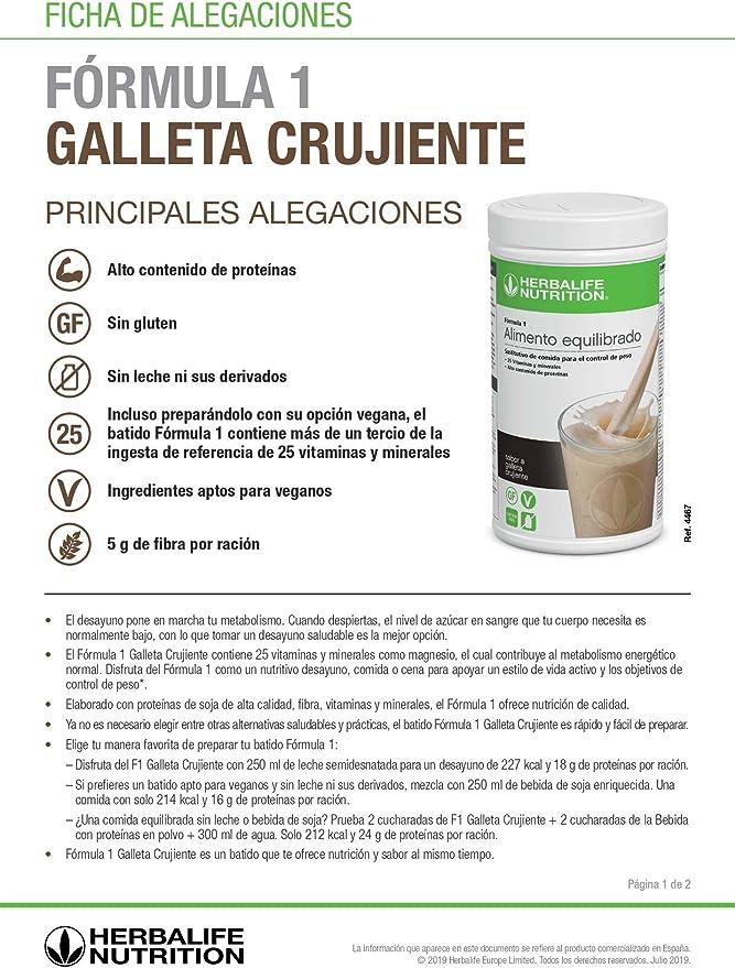 Batido Fórmula 1 Herbalife sustitutivo de comidas bajo en calorías. Rico en proteínas, vitaminas y minerales. Efecto saciante. Sabor Galleta Crujiente ...