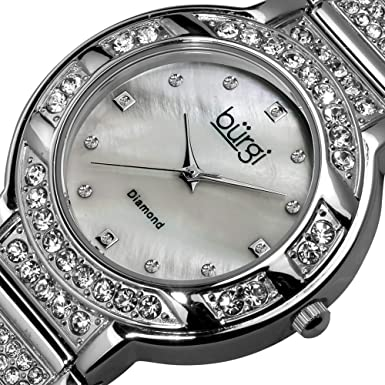 Burgi Women s BUR067SS Mother-of-Pearl Diamond Quartz Watch