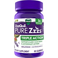 ZzzQuil PURE Zzzs, Triple Action Gummy, 3x Melatonin Sleep-Aid with Ashwagandha, Non-Habit Forming, Drug Free, 6mg…