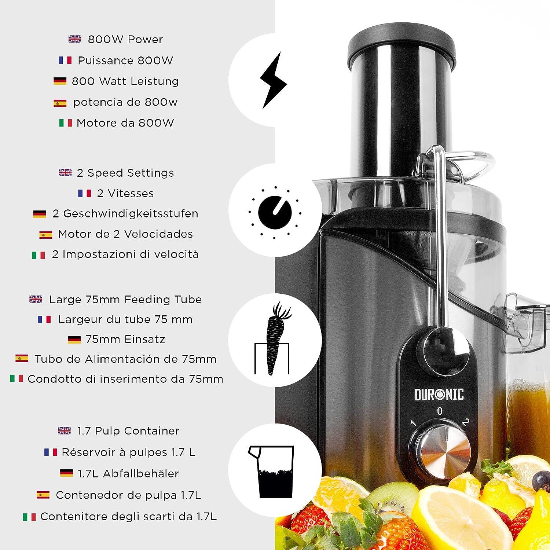 Duronic JE8 Licuadora para Verduras y Frutas Enteras de Acero ...