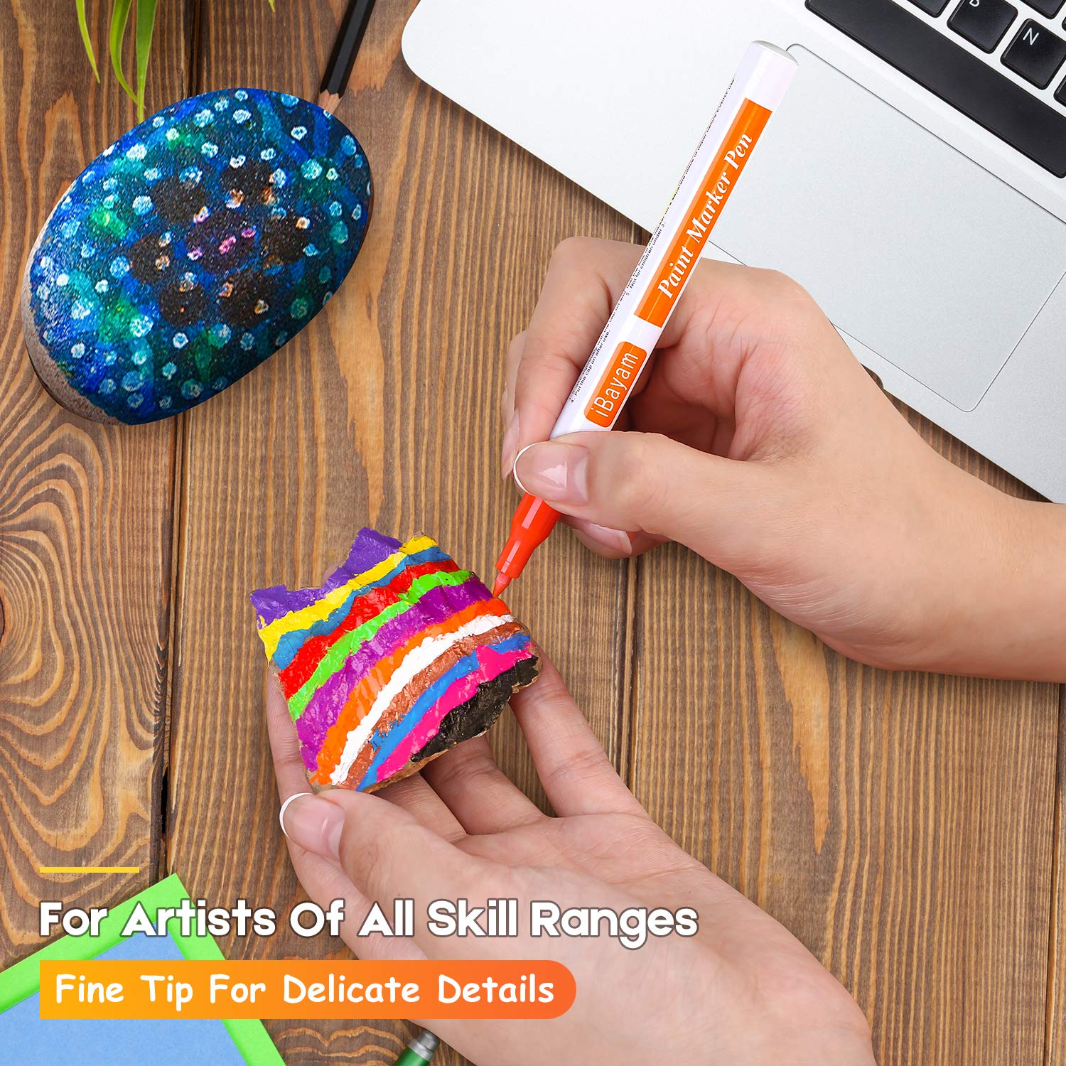 iBayam Paint Marker Pens, Oil-Based, Extra Fine Point, 21 Colors, Odorless, Expert of Rock, Wood, Glass, Metal and Ceramic Painting, Easter Egg, Xylene Free, Professional Paint Marker by iBayam (Image #3)