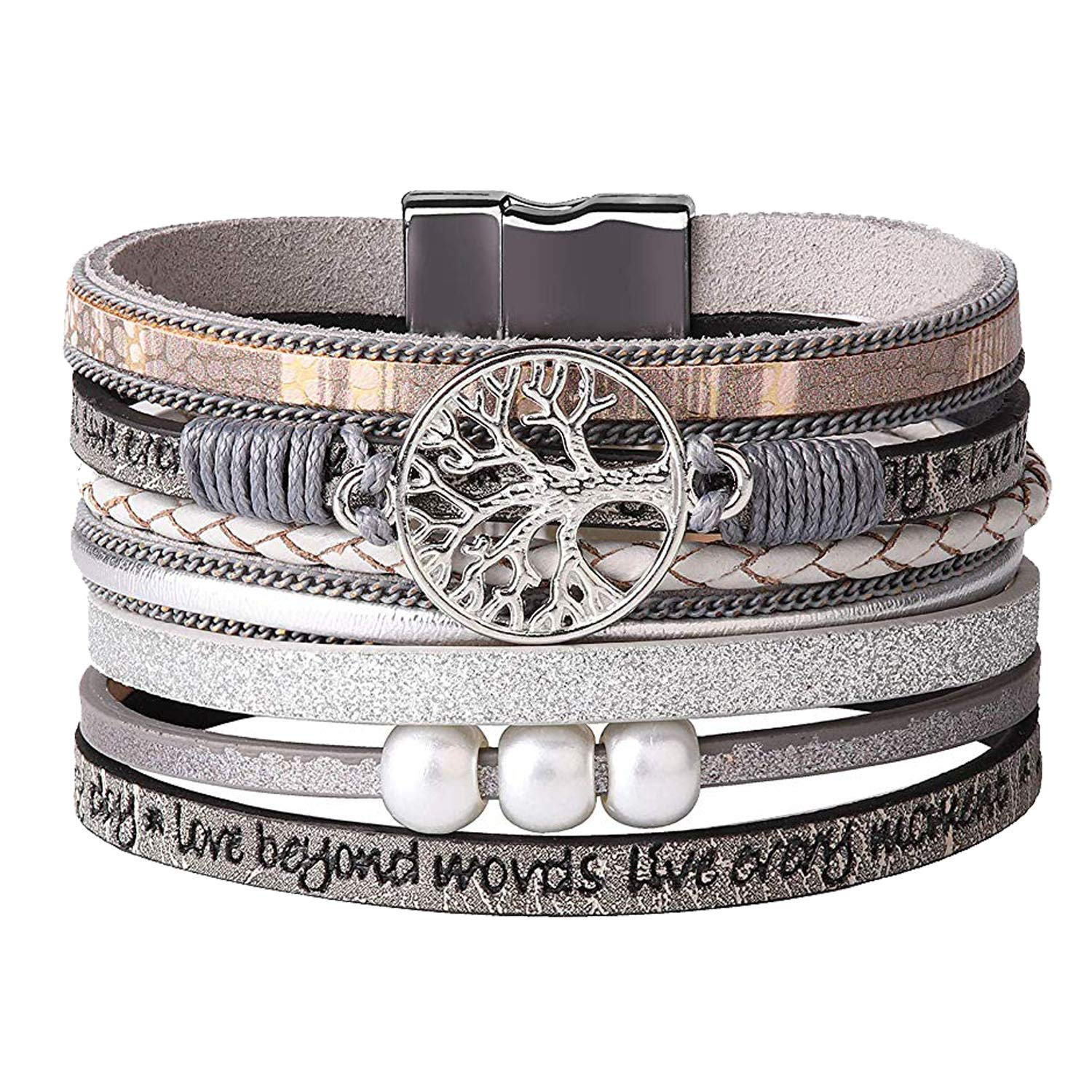 KSQS Tree of Life Multilayer Leather Wrap Bracelets,Boho Pearl Gorgeous Cuff Bracelet with Magnetic Buckle,Casual Bangle for Women&Girl by KSQS