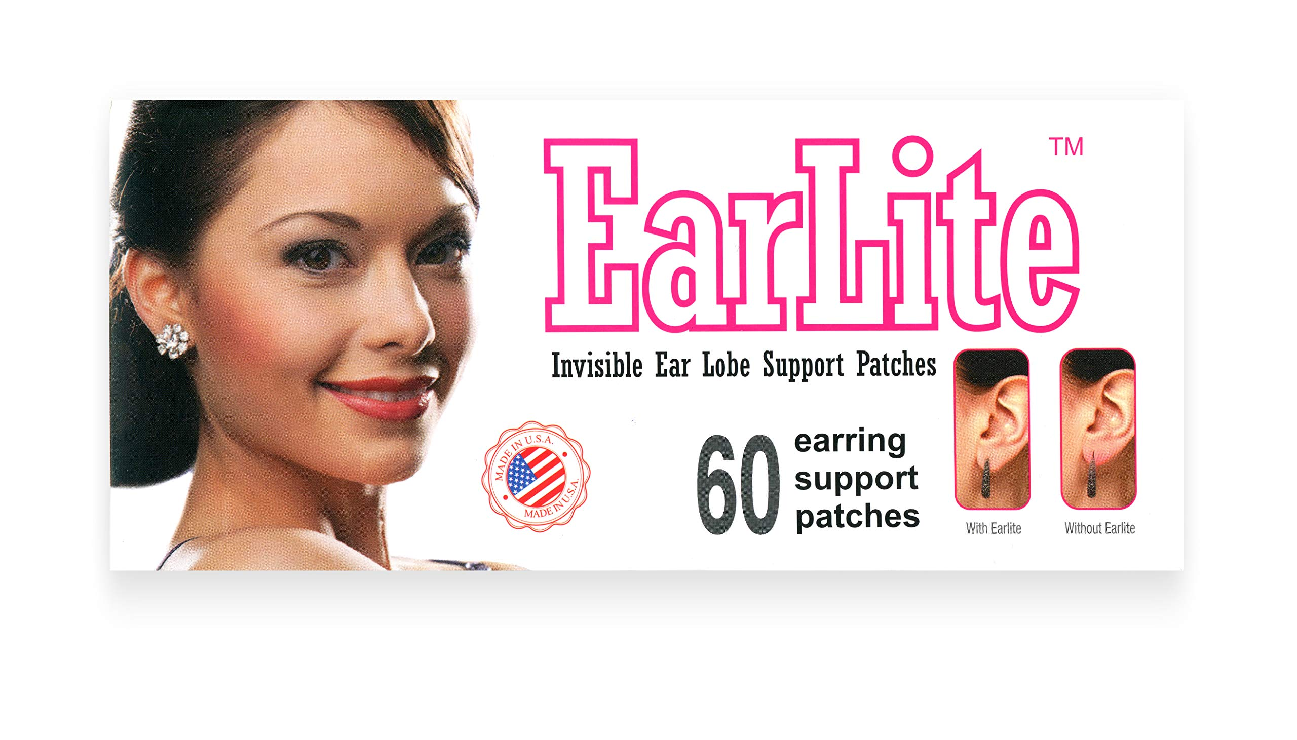 EarLite 60 PATCHES Invisible Earring Ear-Lobe Support Patches Waterproof Patches in ZipLock Pouch