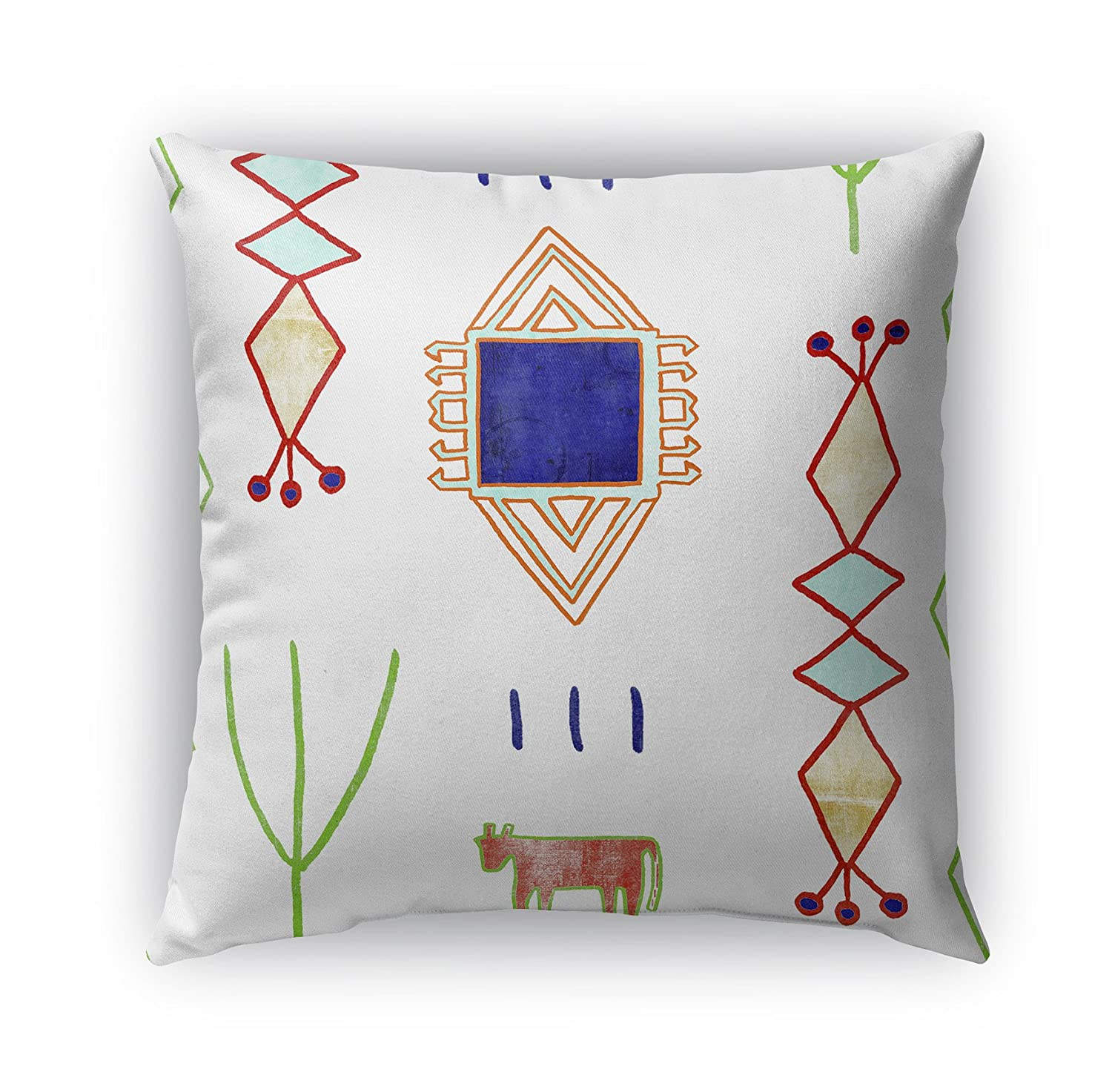Teal//Purple//Gold//Green Size: 26X26X6 - - Navajo Collection KAVKA Designs Chrarda Indoor-Outdoor Pillow, TELAVC8088OD26