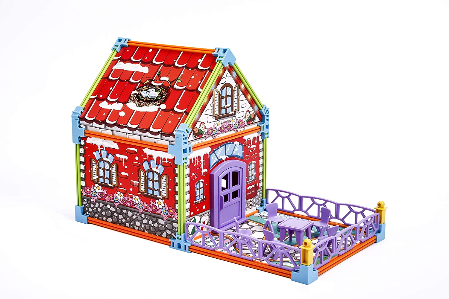 Christmas Learning Education Toys for Girls Boys Paper Jigsaw Puzzle for Kids with Color Manual Christmas House 3D Puzzle for Kids