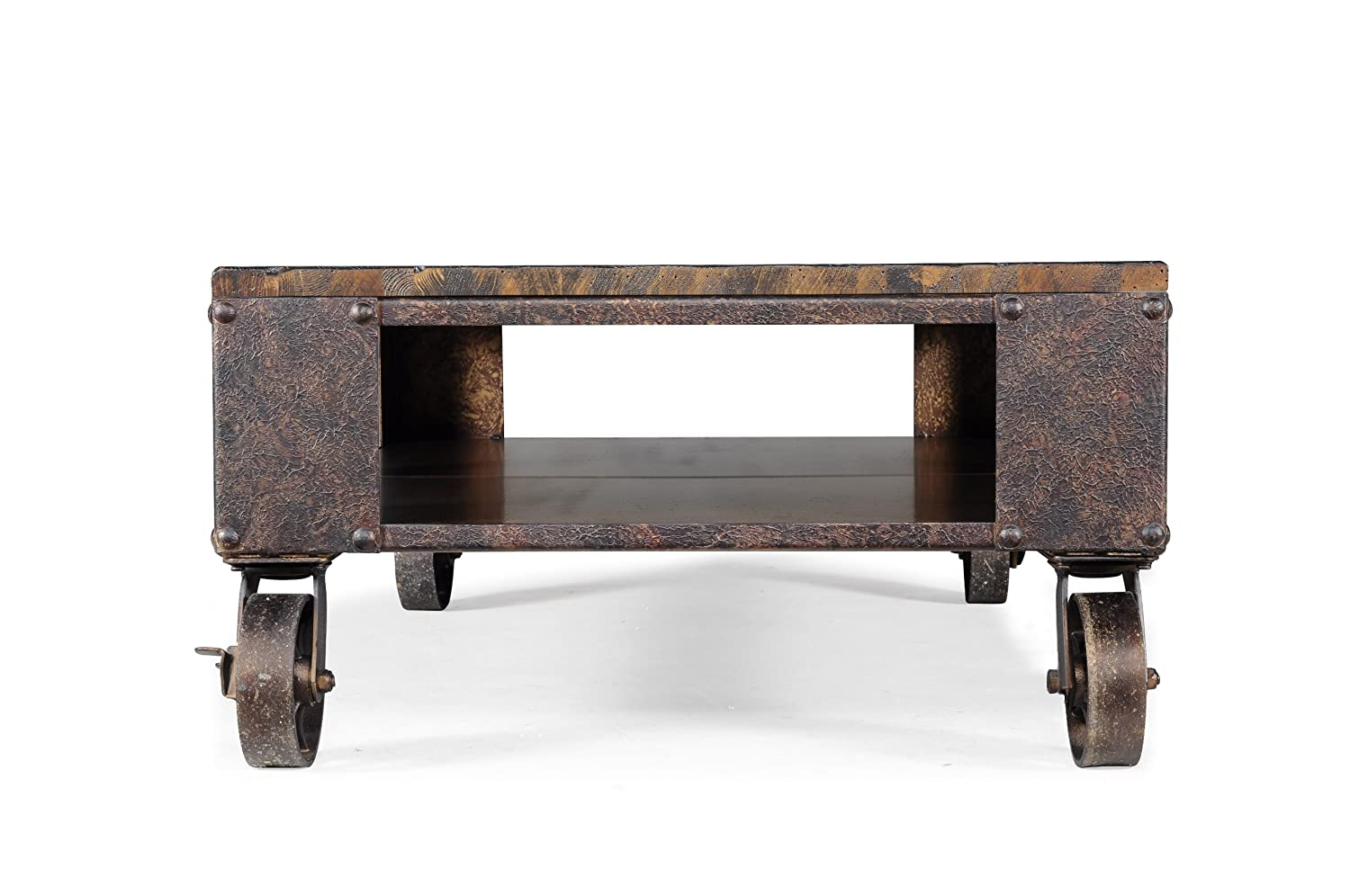 Amazon.com: Magnussen T1755 Pinebrook Distressed Natural Pine Wood  Rectangular Cocktail Table: Kitchen U0026 Dining