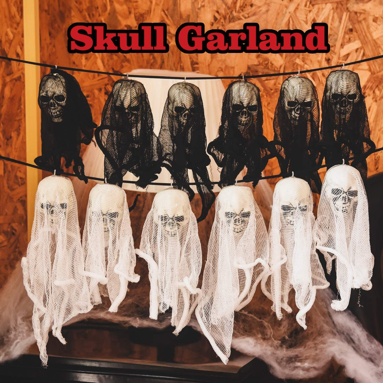 2 Pack Halloween Skull Ghost Garland about 61 inch for Halloween Party Favors, Halloween Decoration