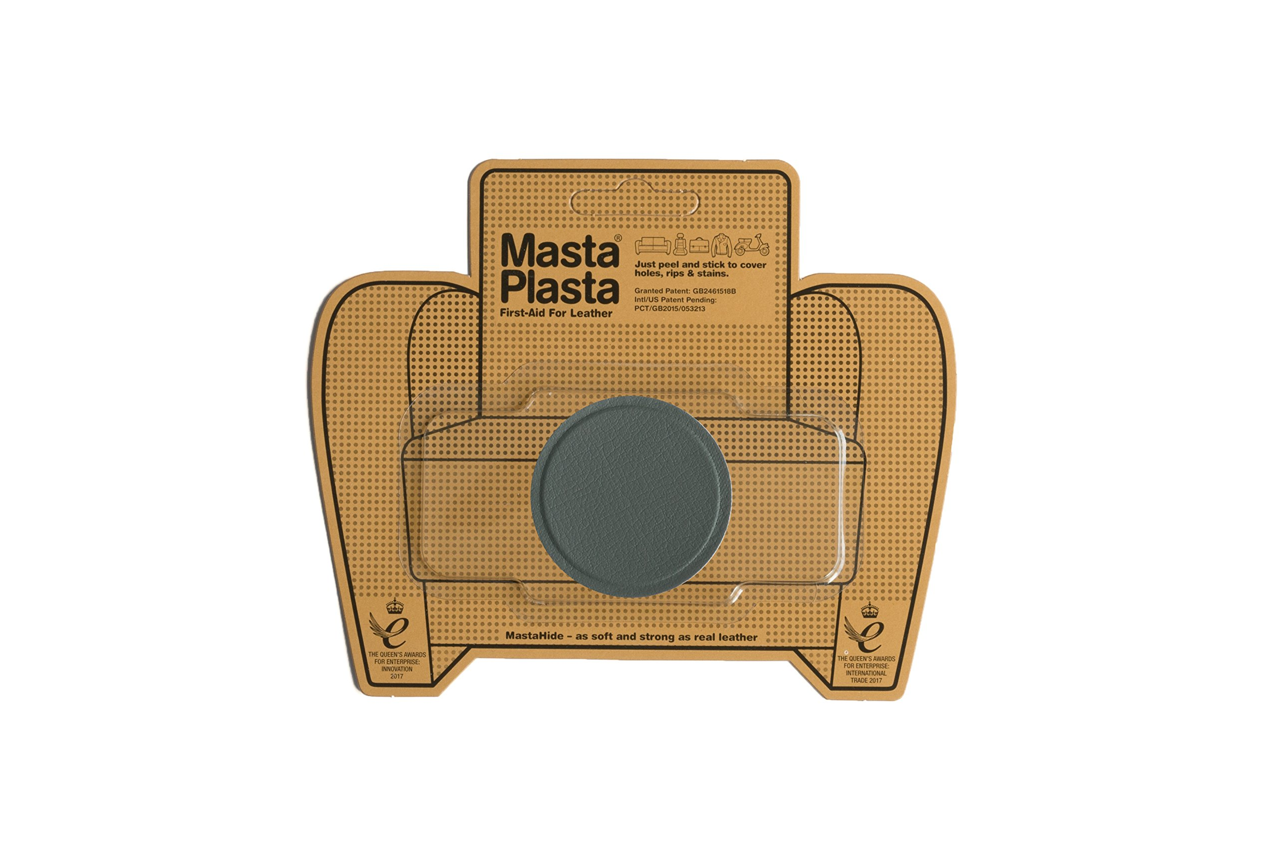 MastaPlasta Peel and Stick First-Aid Leather Repair Band-Aid. Plain circle design 2-inch wide. GREY