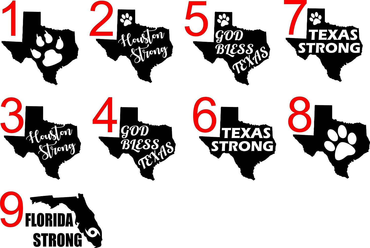 Amazon com vinyl decals window bumper stickers florida strong texas strong houston strong god bless texas all profits benefiting hurricane relief