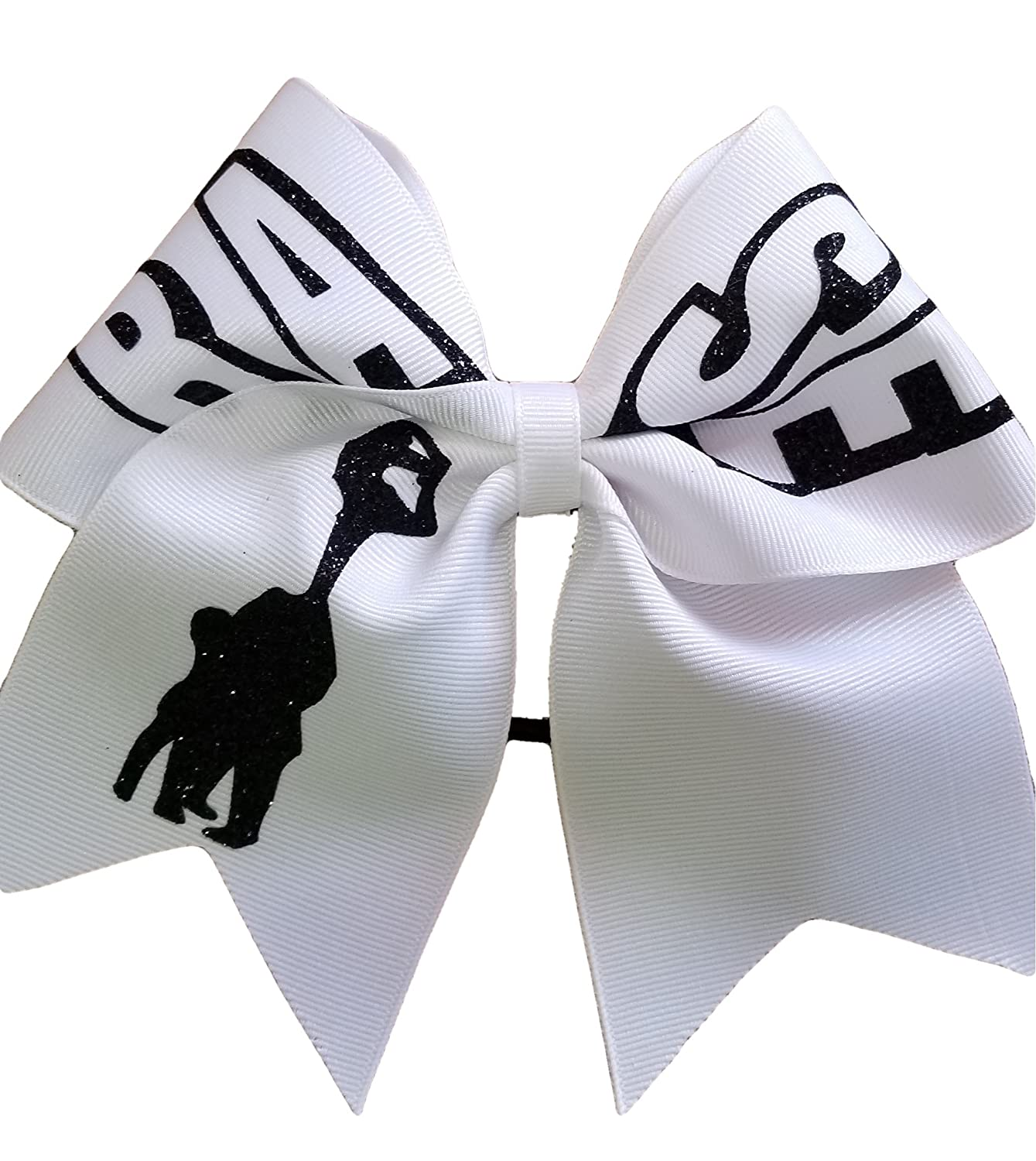 AZBOWS Cheer Bows White Base Stunt Positions Hair Bow