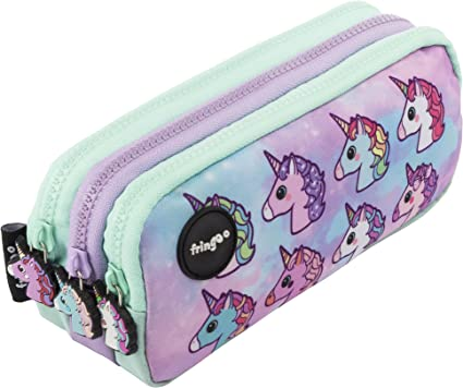 Estuche para lápices de 3 compartimentos FRINGOO, para niños, divertido y bonito, color Pastel Unicorns - 3 Compartments Large: Amazon.es: Oficina y papelería