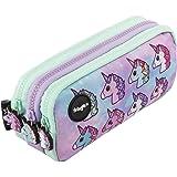 FRINGOO, astuccio portamatite con 3scomparti, per bambini, carino e simpatico Grande Pastel Unicorns - 3 Compartments
