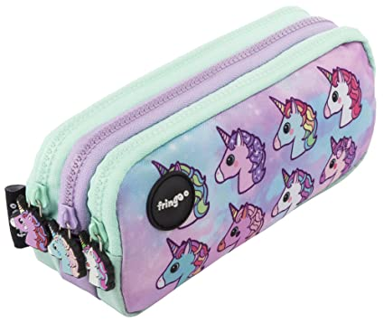 Estuche para lápices de 3 compartimentos FRINGOO, para niños, divertido y bonito, color Pastel Unicorns - 3 Compartments Large