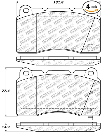 amazon com: stoptech 309 10010 street performance front brake pad:  automotive