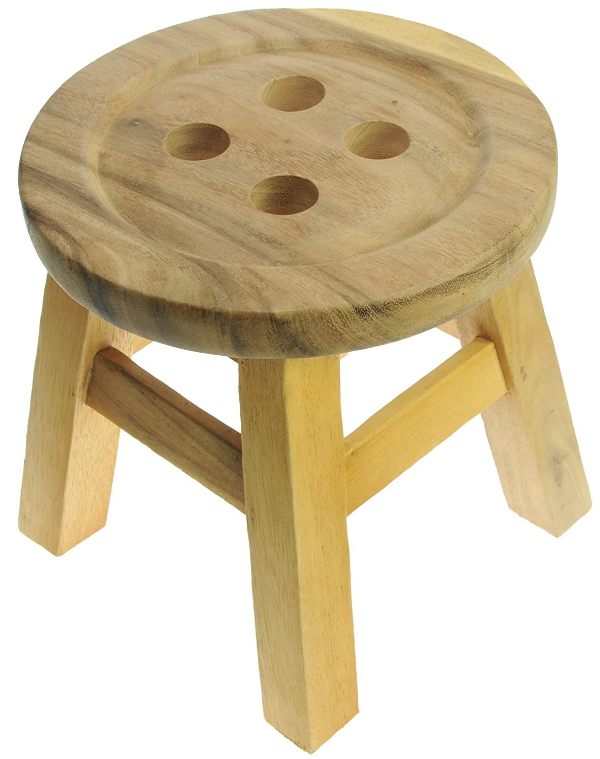 Natural Button Stool - Wooden All My Gift Ideas