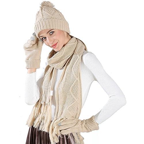 KENZOE - Set de bufanda, gorro y guantes - para mujer beige beige Talla única