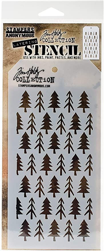 Tim Holtz Layering Stencil Pines Stencil ths096 Stampers Anonymous