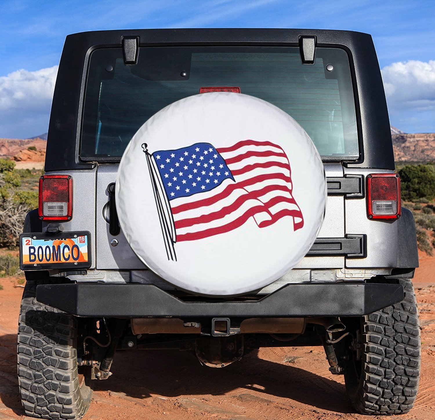 Spare Tire Cover 17 inch American Flag White Waterproof Universal Wheel Tire Covers for RV Jeep Trailer Honda CRV Toyota RAV4 SUV Camper (17'' for diameter 31''-33'') by Tsofu (Image #4)
