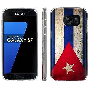 Samsung Galaxy [S7] Phone Case [ArmorXtreme] [Clear] Designer Image [Flexi Gel TPU] - [Cuba Flag] for Samsung Galaxy S7 / GS7
