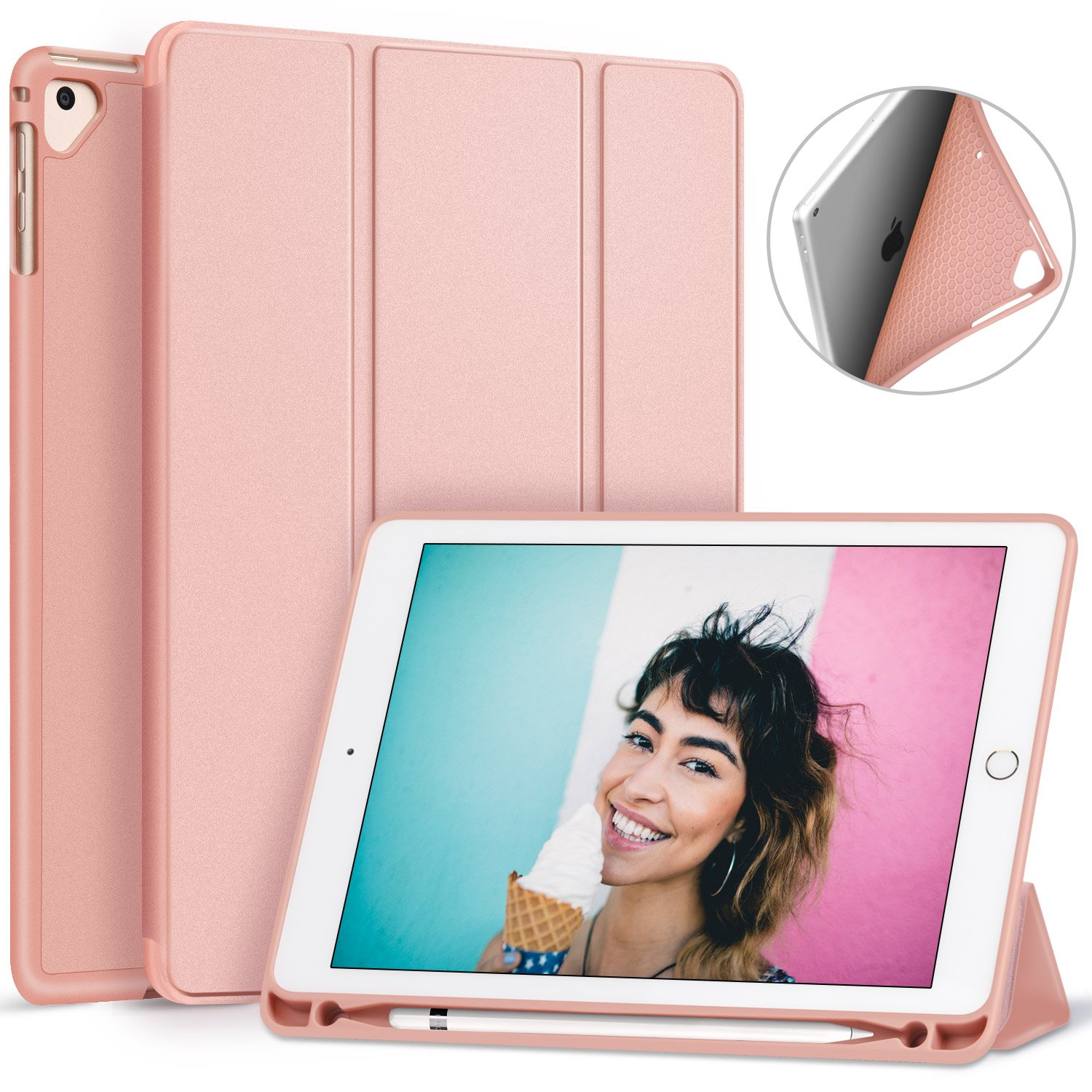 Ztotop Newest iPad 9.7 Inch 2018 Case with Pencil Holder - Lightweight Soft TPU Back Cover and Trifold Stand with Auto Sleep/Wake, Protective for Apple iPad 6th Generation(A1893/A1954), Rose Gold by Ztotop