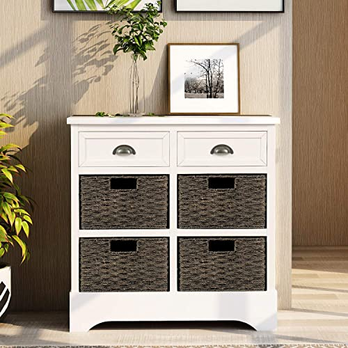 P PURLOVE Storage Chest Retro Style Storage Cabinet Storage Unit with 2 Wood Drawers and 4 Wicker Baskets for Home Kitchen Entryway Living Room, Antique White