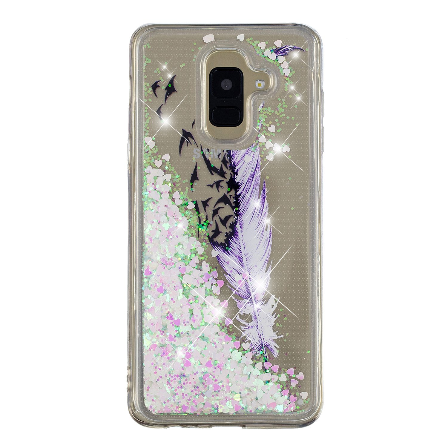 Samsung Galaxy A6/A6+ Case Floating Quicksand Glitter Bling TPU Flowing Liquid Luxury Sparkle Cover (Color 01, Galaxy A6 Plus)