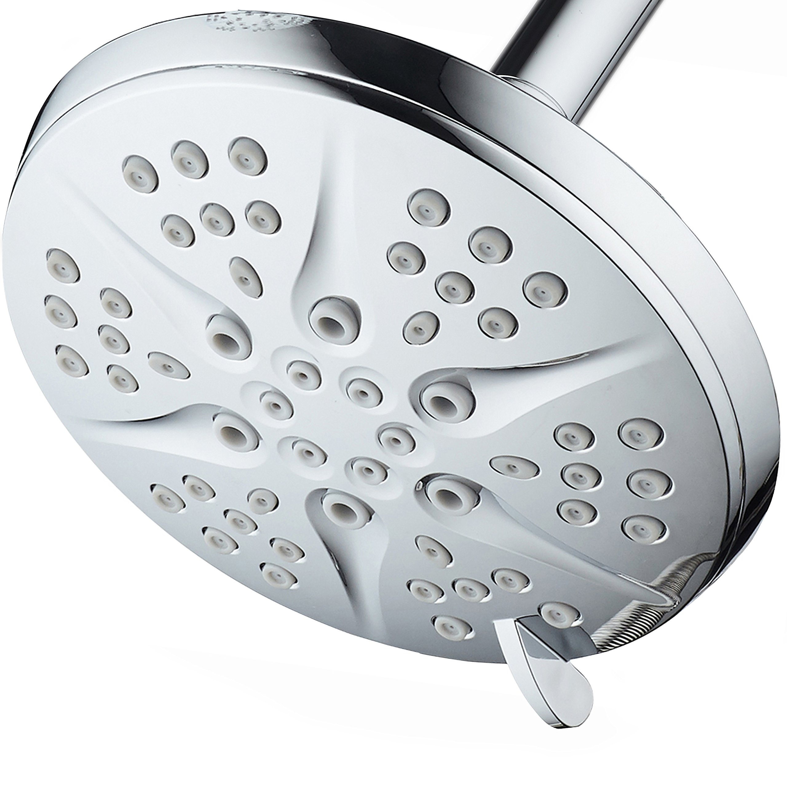 HotelSpa NOTILUS High-Pressure 6-setting 6-inch Modern Luxury Spa Rainfall Shower Head - Solid Brass Metal Connection Nut, Angle-Adjustable Ball Joint, Anti-Clog Jets, All-Chrome Finish,