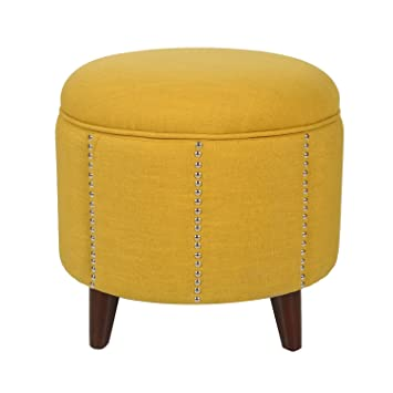 Yellow Nailhead Round Ottoman!! Homebeez Modern Nailhead Trim,Wood  Legs,Fabric Storage