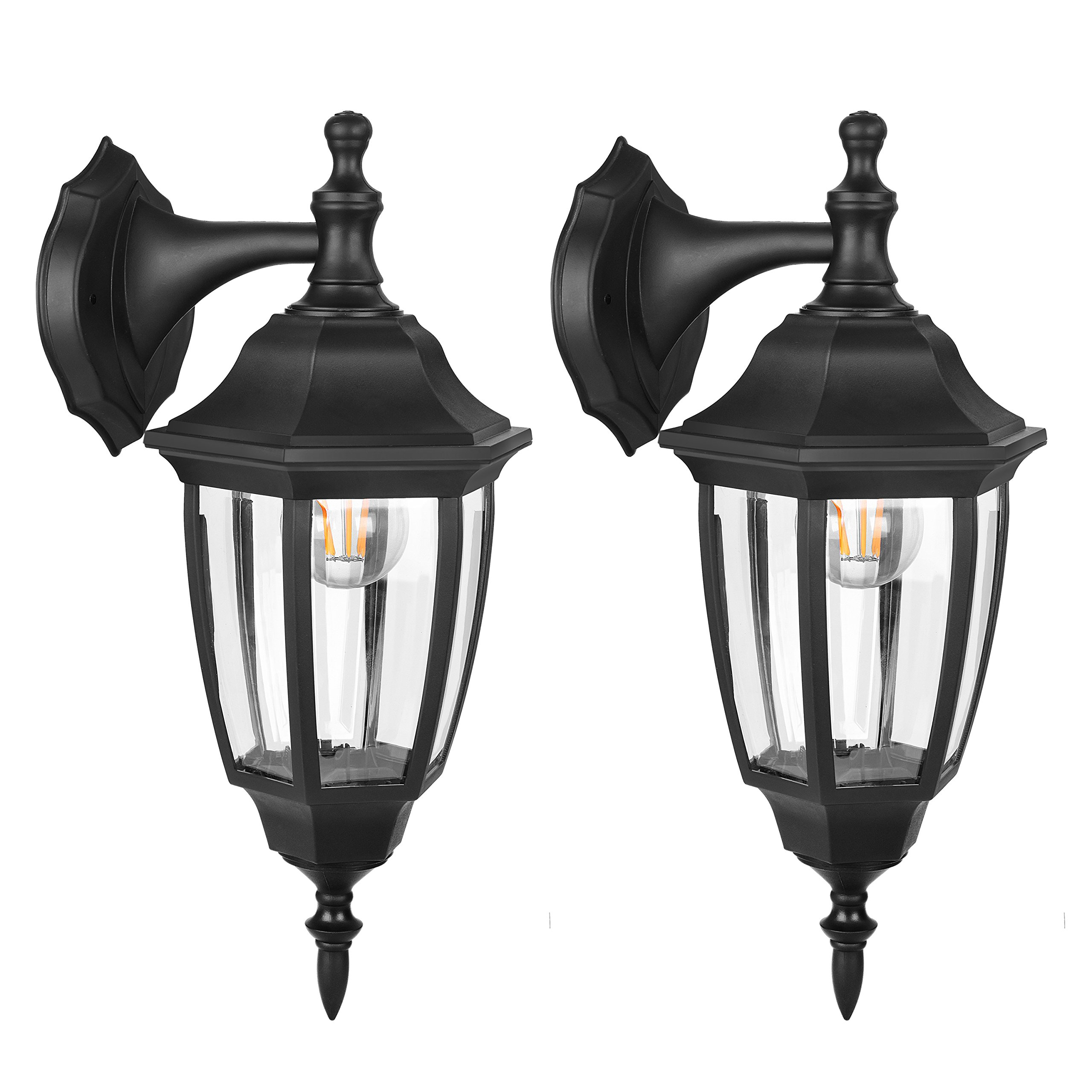 FUDESY Outdoor LED Wall Lanterns - Special Handling Anti-Corrosion Durable Plastic Material, Waterproof Exterior Wall Light Fixtures for Front Porch, Yard, Garage, etc. - 2 Pack