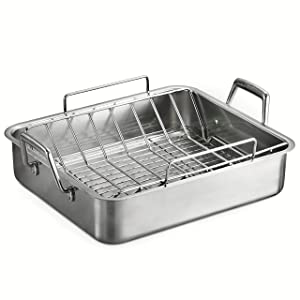 Tramontina 80203/006DS Gourmet Prima Rectangular Deep Roasting Pan with Basting Grill and V-Rack, 16.5-Inch, Made in Brazil, Stainless Steel