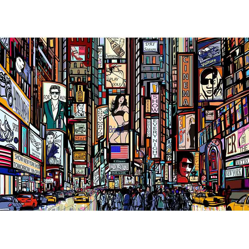 wall26 - Illustration of a Street in New York City - Removable Wall Mural | Self-Adhesive Large Wallpaper - 100x144 inches by wall26 (Image #2)