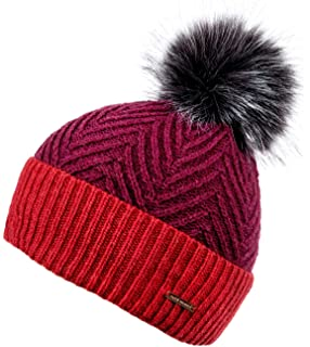 30a1500e65fdfd Alice Hannah Lyla Cable Knitted Bobble Beanie Hat (Berry): Amazon.co ...