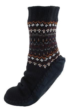 RJM Mens Fairisle Slipper Socks with Moleskin Soles Navy Blue ...