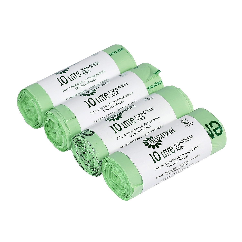 All-Green Sacchetti compostabili BioBag 10 litri per pattumiere da Cucina Caddy, 100 Sacchetti VC 10L-4