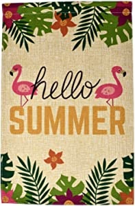 Premium Hello Summer Garden Flag Banner - 12x18 Double Sided Burlap Flag for Decorative use Indoor or Outdoor - Welcome Your Guests and Showcase Your Home Summer - Fits Garden Flag Pole