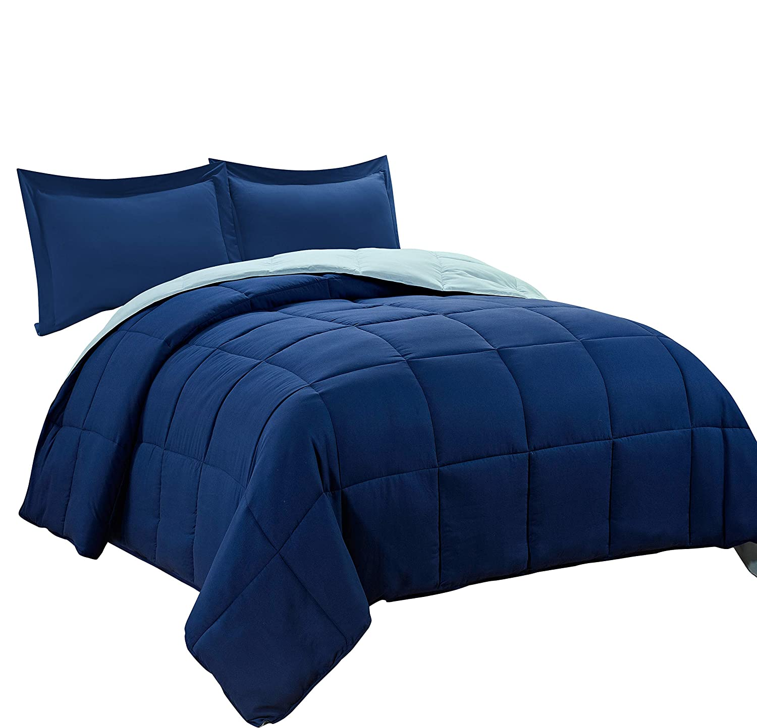 3pc Down Alternative Comforter Set -All Season Reversible Comforter with Two Shams -Quilted Duvet Insert with Corner Tabs -Box Stitched –Hypoallergenic, Soft, Fluffy (King/Cal King, Navy /Light Blue)