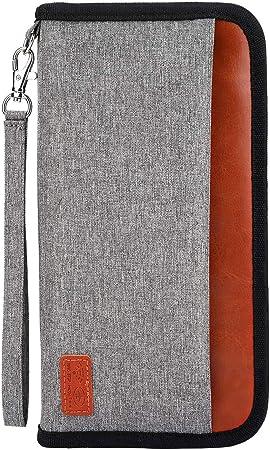 Noir Billets davion pour Femme//Homme Carte de Cr/édit Carte dIdentit/é T/él/éphone Portefeuille Passeport Porte de Voyage Familial avec Blocage RFID Porte-Document Pochette