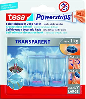 Sehr Gut tesa Powerstrips Deco-Haken, transparent, für max. 200g, Packung  QJ11
