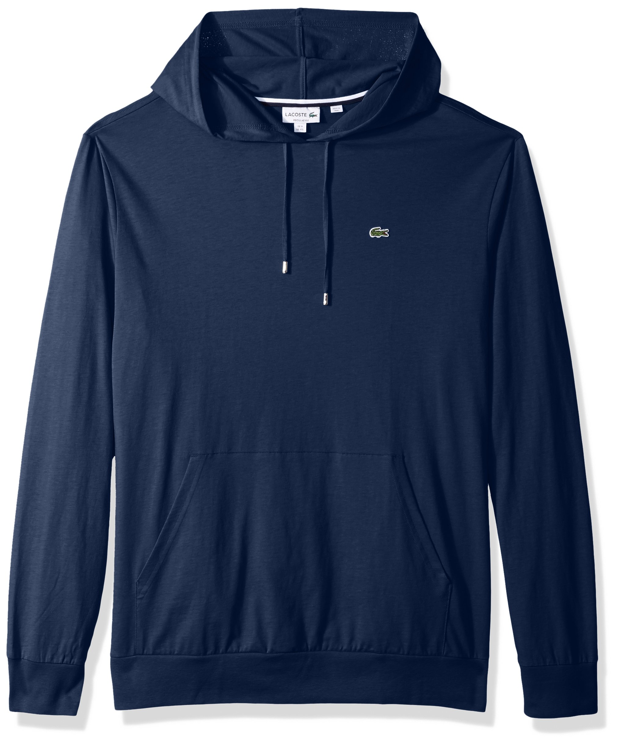 Lacoste Men's Long Sleeve Jersey Hoodie Tee With Central Pocket, TH9349, Anchor Chine, XL