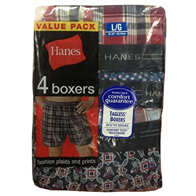 e1dbf42bd1c1 Hanes Men`s Red Label Exposed Waistband Fashion Plaid Boxer,MWCBX4,XL,