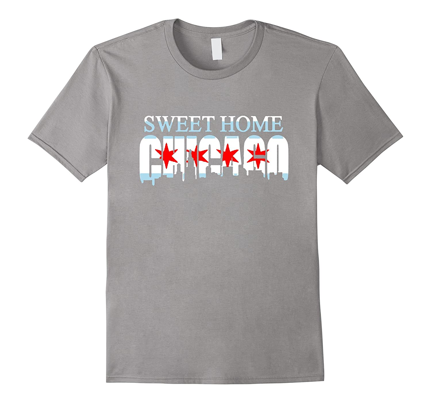 Sweet Home Chicago Flag Skyline T Shirt-RT