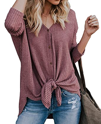 a055d6e8ad52c VENAS Womens Waffle Knit Tunic Blouse Tie Knot V Neck Button Down Sweater Henley  Tops Loose