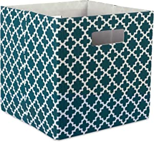 """DII Hard Sided Collapsible Fabric Storage Container for Nursery, Offices, & Home Organization, (13x13x13"""") - Lattice Teal"""