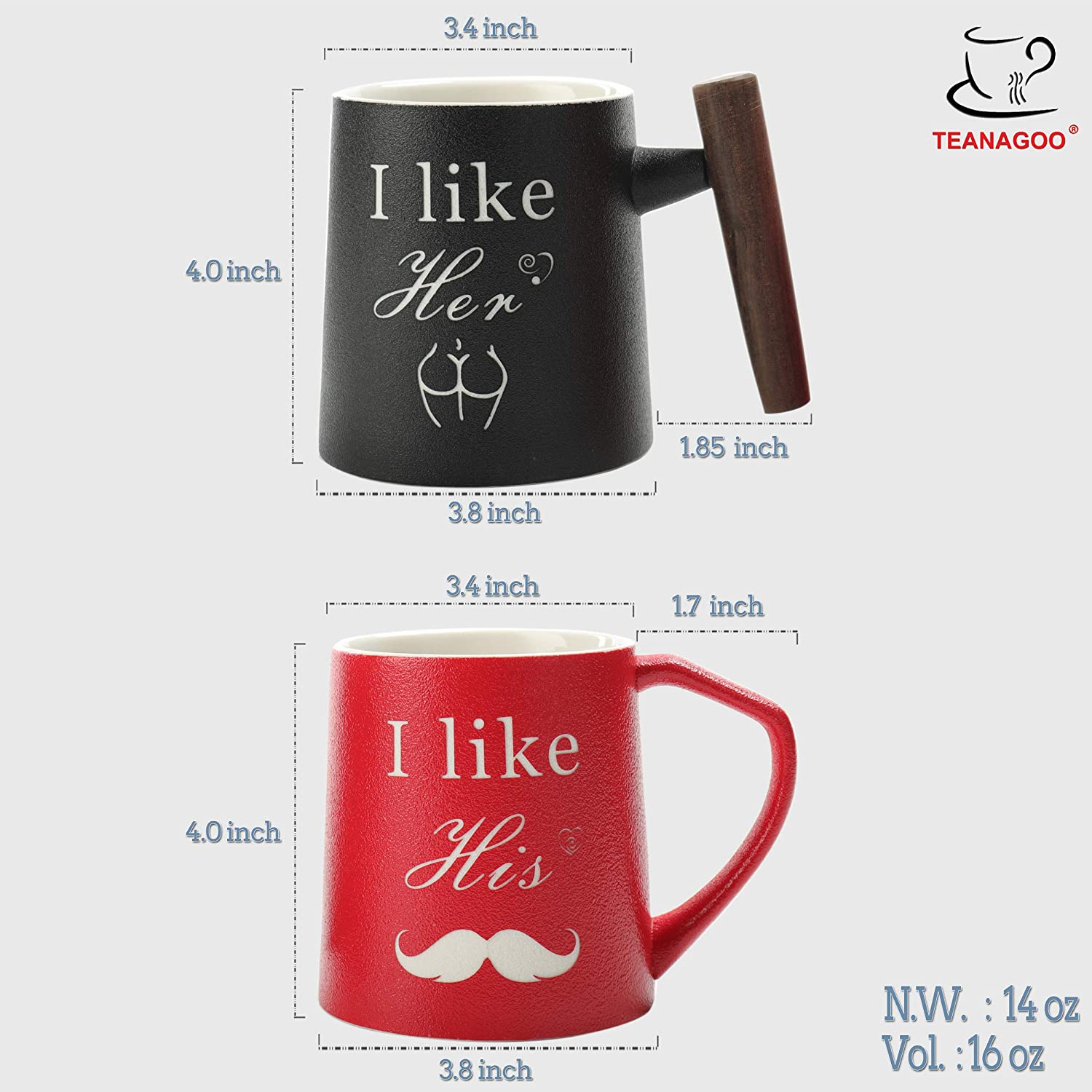 Tea 16 Ounce Gifts for parents for Coffee TEANAGOO DM01 Set of 2 Cocoa NewParents Pregnancy Announcement Baby shower Gifts BEST DAD /& MOM EVER Mugs