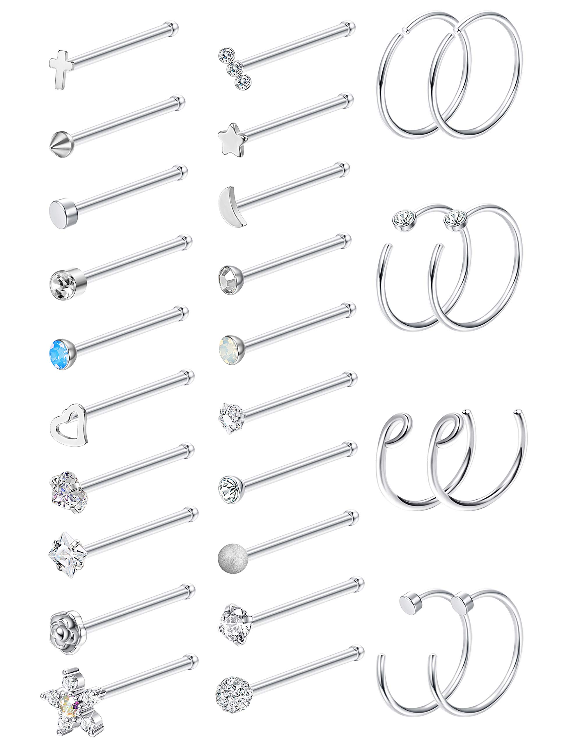 Milacolato 20G 28Pcs Stainless Steel Nose Stud Set Bone L-Shaped Screw Labret Lip Nose Ring Hoop Piercing Jewelry Bone-Shape by Milacolato
